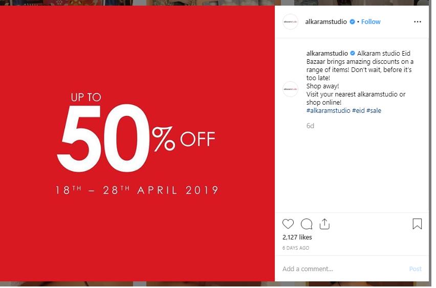 latest sales on Pakistani brands 2019