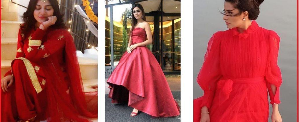 pakistani celebrities in red