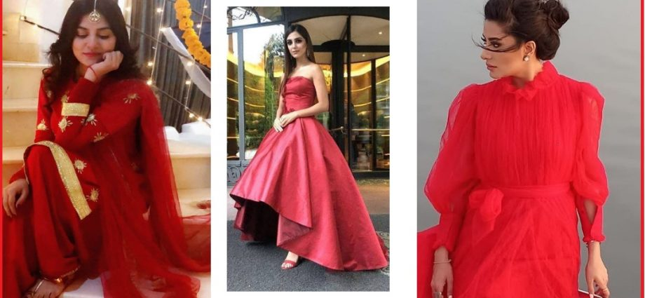 pakistani celebrities in red