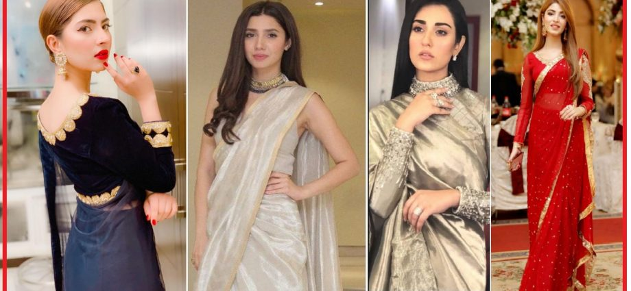 pakistani celebrities in saree